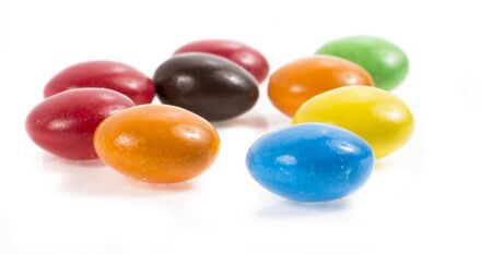dragee: Image of color chocolate dragee isolated close up.
