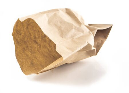 scrunched: Image of crumpled paper bag isolated, colse-up.