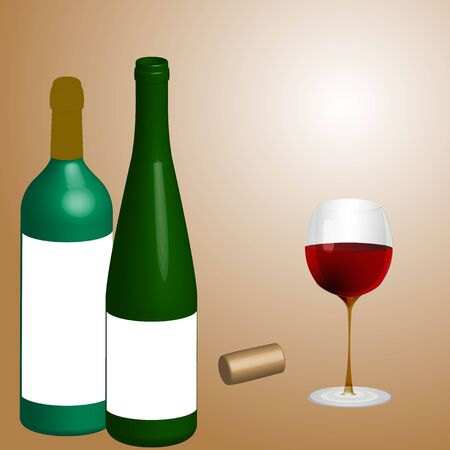 rasterized: Bottlels, cork and glass of wine (rasterized version) Illustration