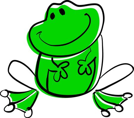 rasterized: Funny green frog sitting and smiling. (rasterized version)