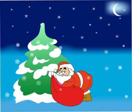 rasterized: Santa Claus putting gifts under the Christmas tree. (rasterized version) Illustration