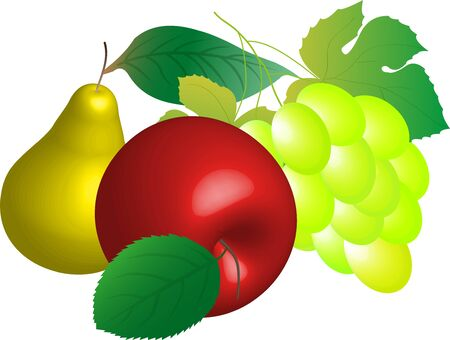 rasterized: Still life of red apples, pears and grapes. (rasterized version)