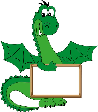 Green dragon holding a plate and smiling  Illustration