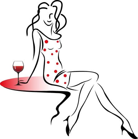abito elegante: Ragazza che si siede su un tavolo con un bicchiere di vino