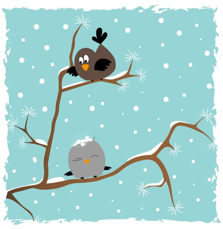 Two birds sitting on a tree in winter  Stock Vector - 16914132