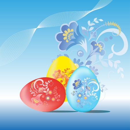 paskha: Painted easter eggs on a blue background
