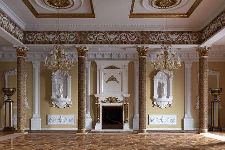 Wnętrze pałacu. Renderowanie 3D Zdjęcie Seryjne