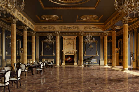banquet hall in the classical style. 3d render