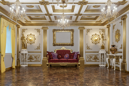 3d rendering of the hall in classical style Cinema 4D Corona renderer Stok Fotoğraf