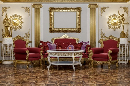 3d rendering of the hall in classical style Cinema 4D Corona renderer Foto de archivo