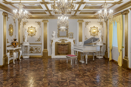 3d rendering of the hall in classical style Cinema 4D Corona renderer Stock Photo