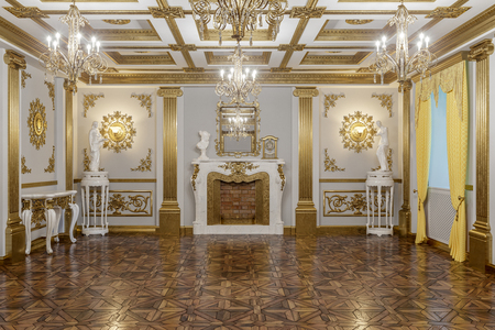 3d rendering of the hall in classical style Cinema 4D Corona renderer Archivio Fotografico - 108451354