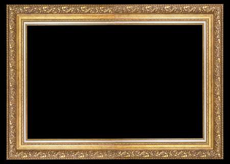Classic frame for paintings with stucco on a black background