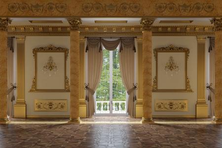 La salle de bal et le restaurant de style classique Banque d'images