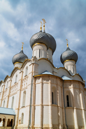 Russian orthodox church with onion domes. Rostov Kremlin
