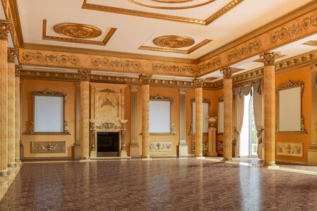 The ballroom and restaurant in classic style. 3D render interior mock up