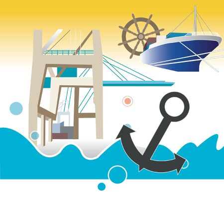 port: Port, Ship, Cruise, Bridge, Container, Fish, Anchor Illustration
