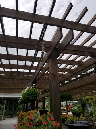 Wood trellis in outdoor garden area