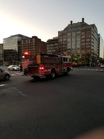 A fire truck responds to an emergency call