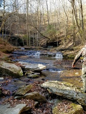 Water falls down a stream