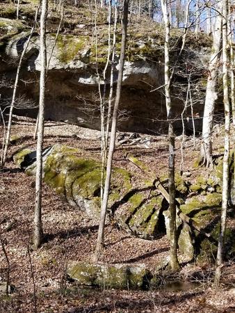 A natural rock cave