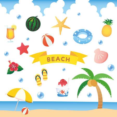 Summer sea icon set