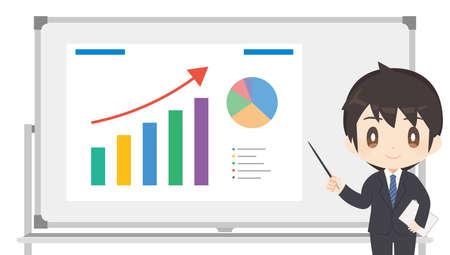 Whiteboard / Chart /Office worker / male / illustration with a pointer Vektoros illusztráció