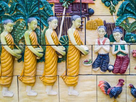thai people: Thai people believe believe merit monks Stock Photo