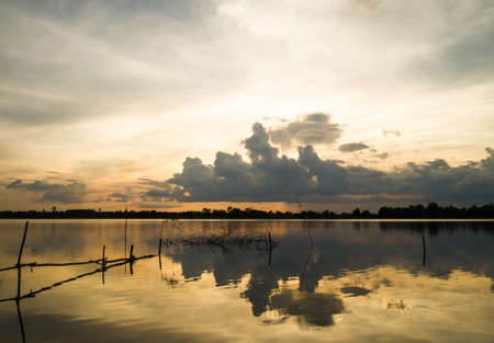 coloful: Sunset coloful on small lake. In Thailand Stock Photo