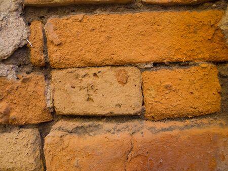 maha: Ancient Thai old brick wall at Wat Potharam , Ban DongBang NaDun, Maha Sarakham, Thailand.