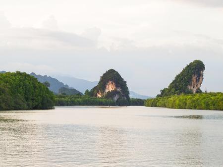 krabi: Krabi landmark (Kanaab Nam Cliff), Krabi Town, Thailand. Stock Photo