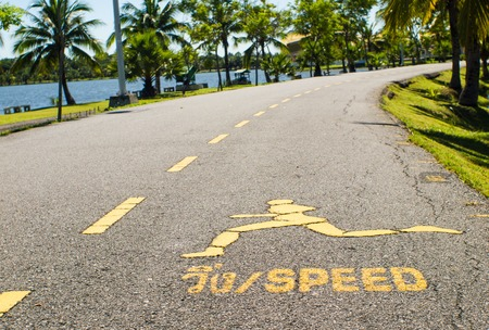 trail sign: Running Trail sign on pedestrian.(speed,jogging)