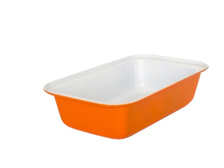 nonstick: material rectangle baking loaf pan non-stick coating. isolated on white.