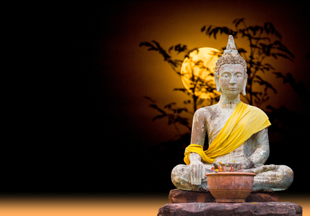 subduing: Buddha status of subduing Mara sitting under the moonlight.(abstract full moon of dream) Stock Photo