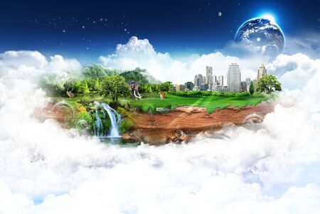 Nature landscape with the different elements on its surface   Elements of this image furnished by NASA  Stock Photo