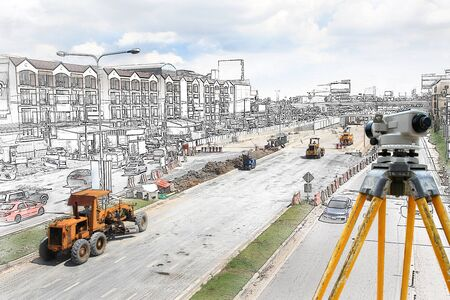 steamroller: Graphic Bulldozer and steamroller on new road