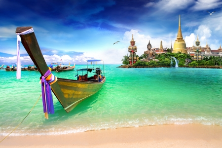 Concept travel Tropical beach, traditional long tail boats, Andaman Sea, Thailand photo