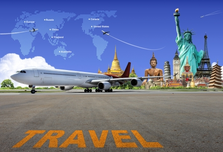 travel bag: Travel the world Stock Photo