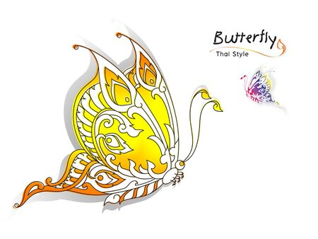 decorate element: butterfly style thai on a white background Stock Photo