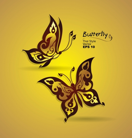 asian culture: butterfly style line thai