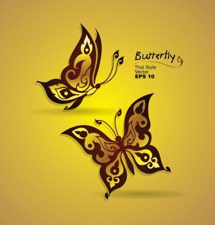 folk culture: mariposa estilo de l�nea thai Vectores