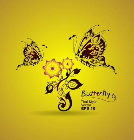 thailand art: butterfly style line thai  Illustration