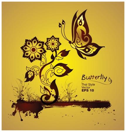 thai: farfalla stile della linea thai