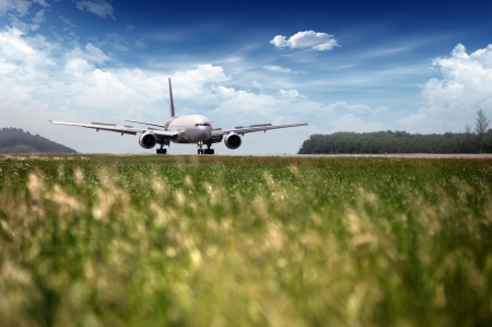 strips away: airplane at takeoff