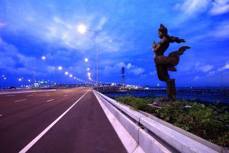 venerable: apsonsi-thai magnificent statue against cloudy sky background