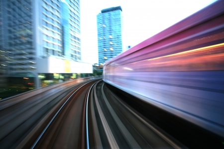 rails: Motion blurred on speeding sky train