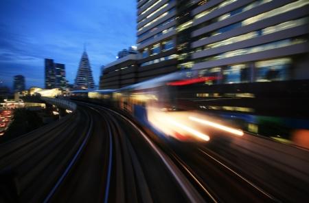 bullet train: Motion blurred on speeding sky train