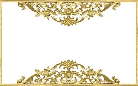 Pattern of wood frame carve flower on white background
