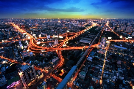 light trails: Bangkok Expressway and Highway top view, Thailand