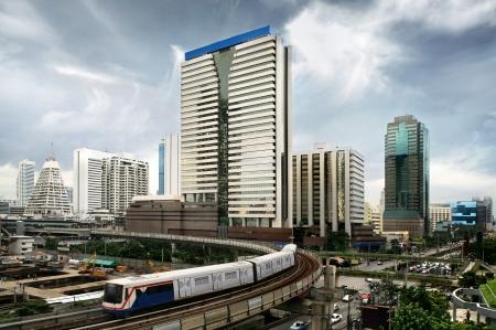 bangkok city: Sky train in Bangkok Stock Photo